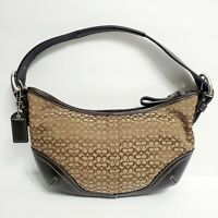COACH Women's Brown Small Signature Canvas & Leather Hobo Purse C32-6351