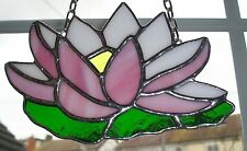 Stained Glass Water Lily, Birthday Flower July, Suncatcher, Hand Made in England
