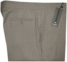 $365 NEW ZANELLA ITALY DEVON KHAKI TAUPE SUPER 130'S WOOL DRESS PANTS 40
