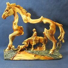 Horse and Rider Western Wood look resin sculpture Cowboy w/ calf figurine