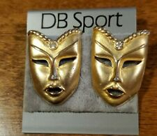 Mask Earrings, Pierced Posts, Nip Mardi Gras Goldtone & Crystal Accent