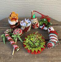"8- Vtg Xmas Ornaments Handmade Sequined Snowman Teddy Bear Drum Puppy ETC 2-3.5"""