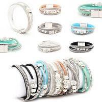 Strass-Armband Wickelarmband Perlen+Strass Glitzer Magnetverschluss 3-strängig
