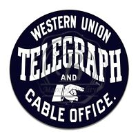 Western Union Telegraph and Cable Office Reproduction Circle Aluminum Sign