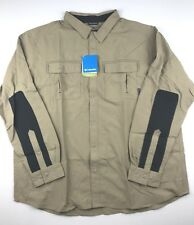 Columbia Mens 2XL Brown Twisted Divide Long Sleeve Pocketed Button Shirt Top
