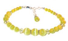 Jonquil Yellow Crystal & Cats Eye Bracelet Sterling Silver Swarovski Elements