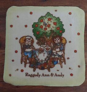Rare Raggedy Ann & Andy Small Washcloth  - Camel Tree Apples Flowers Tea Japan