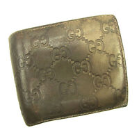 Gucci Wallet Purse Bifold Guccissima Gold Woman unisex Authentic Used Y7463