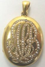 "Antique Deco Locket 18K Yellow Gold Seed Pearls Vintage Estate APB 1.65""x.98"""
