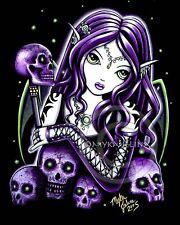 Gothic Fairy Purple Skull Signed Belladonna PRINT Big Eyed Myka Jelina Art