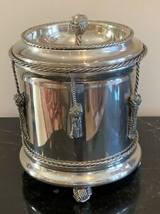 Vintage Italian Silver Plated Ice Bucket with Draped Tassels