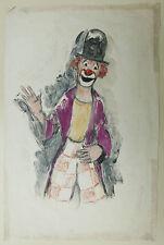 Peinture Monotype Huile Portrait Clown Cirque PIERRE ABADIE LANDEL 1930