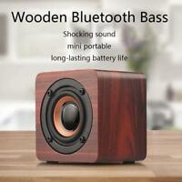 Q1 Wooden Wood Subwoofer Wireless Bluetooth Speaker HIFI Stereo Bass Speaker