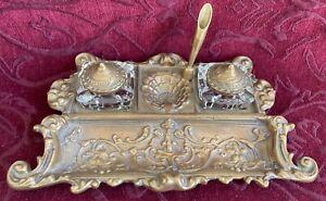 Brass Glass Desk Top Double Ink Well, Pen or Quill Set, Butterflies Shells