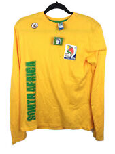 South Africa 2009 FIFA Confederations Cup 100% Cotton LS Yellow T-Shirt Size M