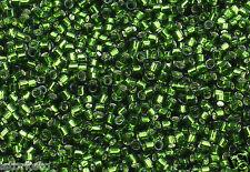 11/0 Toho Treasures Glass Seed Beads #37-Silver-Lined Olivine 5 grams
