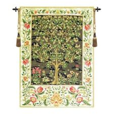 """Tree of Life Beige I European Tapestry Wall Hanging H 35"""" x W 26"""""""