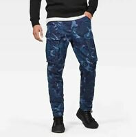 G-Star Raw Rovic 3D Straight Tapered 32 33 34 Blue Canvas Camouflage Cargo Pants
