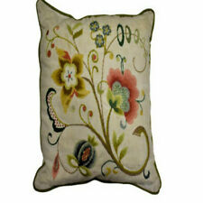 folk art pillow cushion decors hand made flowers needle work classic collectible
