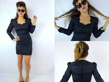 VTG 90s Little Black Striped Satin Long Sleeve Fitted Mini Dress Cocktail Sz 5
