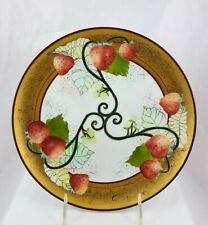 Antique Porcelain Hand Painted Artist Signed Joelle Strawberry & Leaves Plate