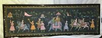 Hand Painted Silk Fine Art of a Mughal Hunt Scene or Similar, India 20th century
