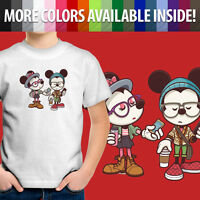 Toddler Kids Tee Youth T-Shirt Hipster Disney Mickey & Minnie Mouse Cartoon Cute