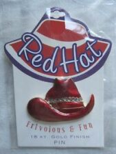 Red Hat Society Frivolous and Fun 18 KT Gold Finished Enamel Pin -