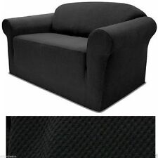 STRETCH FORM FIT - 3 Pcs Slipcovers Set,Couch/Sofa+Loveseat+Chair Covers - BLACK