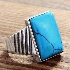 Men's Blue Turquoise REAL 925 STERLING SILVER Natural Stone Large Ring all sizes