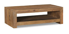 CUBE NATURAL SOLID SHEESHAM FURNITURE OPEN COFFEE TABLE (C24N)