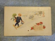 Vintage Postcard A Happy New Year Poem, Boy With Snow Shoes And Flowers