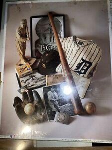 Detroit Tigers Baseball Print VTG Ty Cobb 1993 1st Edition Photo