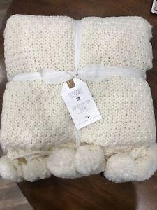 New PB Teen Lily Ashwell Crochet Pom Pom Throw Blanket
