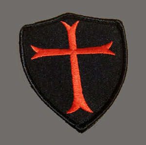 CROSS CRUSADER  SHIELD EMBROIDERED  3.0 INCH TACTICAL COMBAT HOOK LOOP PATCH