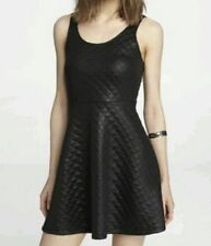 NWT Express BLACK Quilted Skater Skate Fit and Flare Sleeveless Tank Dress S