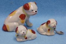 Vintage Set 3 Grumpy Spotted Dogs Dog Figurines w/ Chains Japan Ceramic White