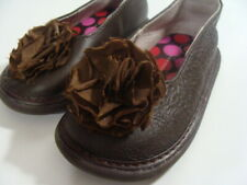 Wee Squeak Toddler Girls Brown Leather Mary Jane w/Flower Shoes Size 6 M