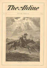 Horse, Rider, From Ghent To Aix. by J.D. Smillie, Vintage 1873 Antique Art Print