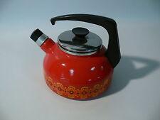 DDR & DESIGN schwere Emaile Teekessel Wasserkessel Wasserkocher Blüten Dekor Tee