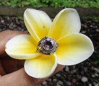 Size 8 (US) Gemstone Solid Silver, 925 Balinese Poison Design Ring 39173
