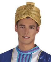 MENS GOLD ALADDIN GENIE SULTAN PANTO BOLLYWOOD FANCY DRESS COSTUME HAT NEW