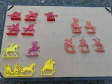 Soviet Russian Ussr Made Plastic Toy Soldiers Red Yellow Orange Cavalry