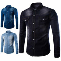 Men's Button-Front Denim Jeans Shirt Casual Long Sleeve Slim Fit Shirts Tops