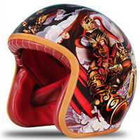 DOT Motorcycle Helmet Half 3/4 Open Face Scooter Helmet Freehand Sketch Son Goku