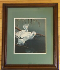 """11"""" X 12""""""""  Egret D. Nicholson Miller 2x Matted Signed Print in 20"""" X 24"""" Frame"""