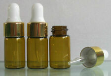 6x 110oz Amber Glass Round Bottles With Droppers 3ml For Essential Oils M1627 Ql