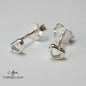 Solid 925 Sterling Silver Stud Earrings Ear Studs Small Heart + Velvet Gift Bag