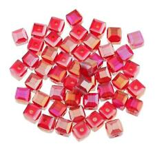 50pcs Red Square Crystal Beads Glass Loose Spacer Beads for Jewelry Making