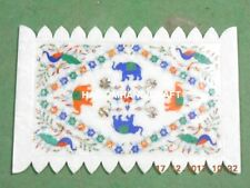 12''x8'&#0 39; Hakik Lapis Floral Marble Tray with Elephant & Peacock Inlaid Work M245